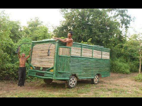 Best building : build the most beautiful Bus by using bamboo _ Bus House
