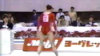 JPN TV. Incomplete coverage of the women's competition at the 1989 World Sports Fair. Boginskaya, Vyatinina, Ivanova, Kut, Sanada, Kosuge.