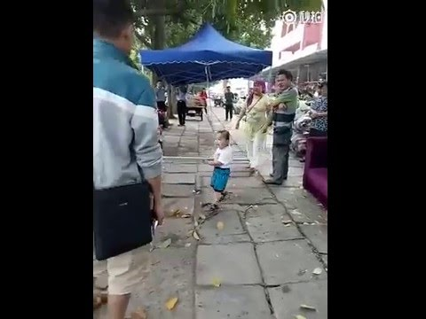 Toddler defends grandma with steel pipe!