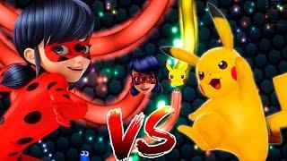 Miraculous Ladybug vs Pikachu Batalha de cobrinha Slither.io totoykids