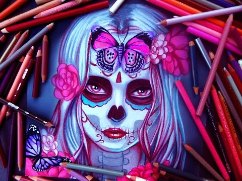 Dia de los muertos -Day of the dead girl- Halloween Speed Drawing