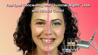 FAST ACNE COVERAGE and Summer Nights Look with Dinair Airbrush Makeup Kit / Trucco Aerografo Estate