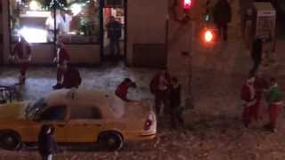Santas Engage In A Fight On The Street
