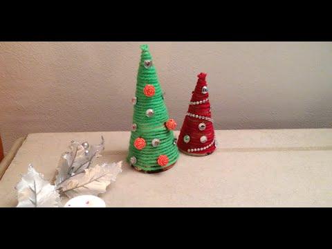 decorazione natalizia – alberello di natale con la lana e perline