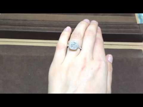 Double Halo Cushion Cut Diamond Engagement Ring