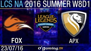 Echo Fox vs Apex - LCS NA Summer Split 2016 - W8D1