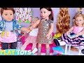American Girl Doll Logan Hair Beauty Salon! Kids how to play baby dolls hair cut and styling toys!