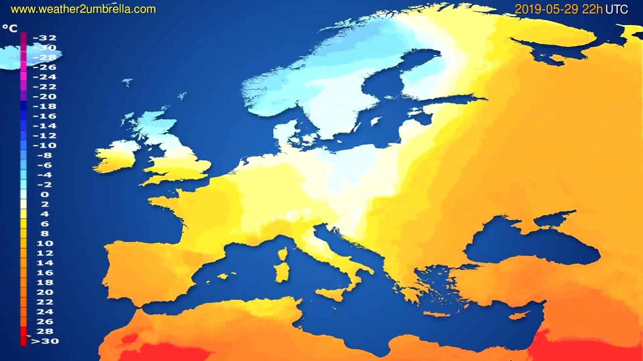 Temperature forecast Europe // modelrun: 00h UTC 2019-05-27