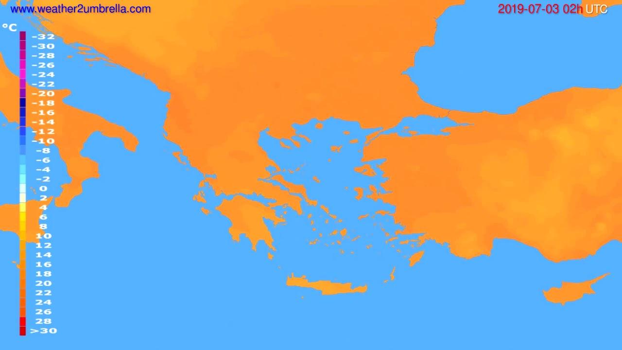 Temperature forecast Greece // modelrun: 12h UTC 2019-06-30