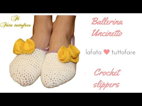 TUTORIAL: pantofole/ ballerine uncinetto/crochet slippers***lafatatuttofare***