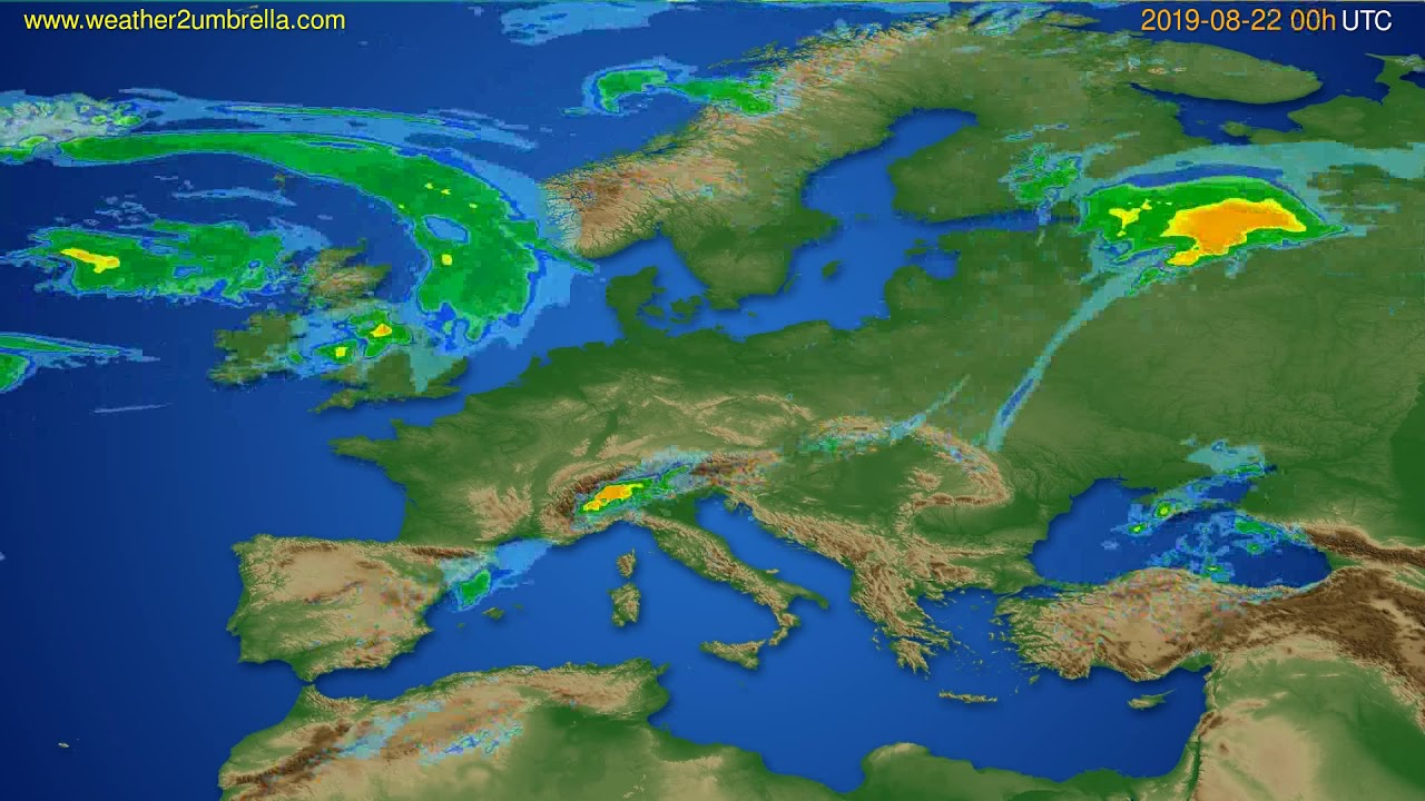 Radar forecast Europe // modelrun: 12h UTC 2019-08-21