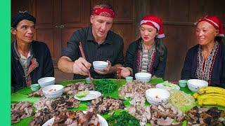 Video Potbelly Pig Cooked 7 Ways - Traditional cooking with Red Dao Family in Ta Phin Village, Vietnam! MP3, 3GP, MP4, WEBM, AVI, FLV September 2019