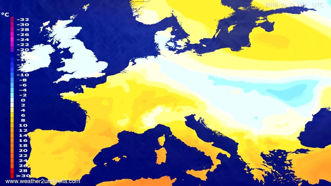 Temperature forecast Europe 2016-10-11