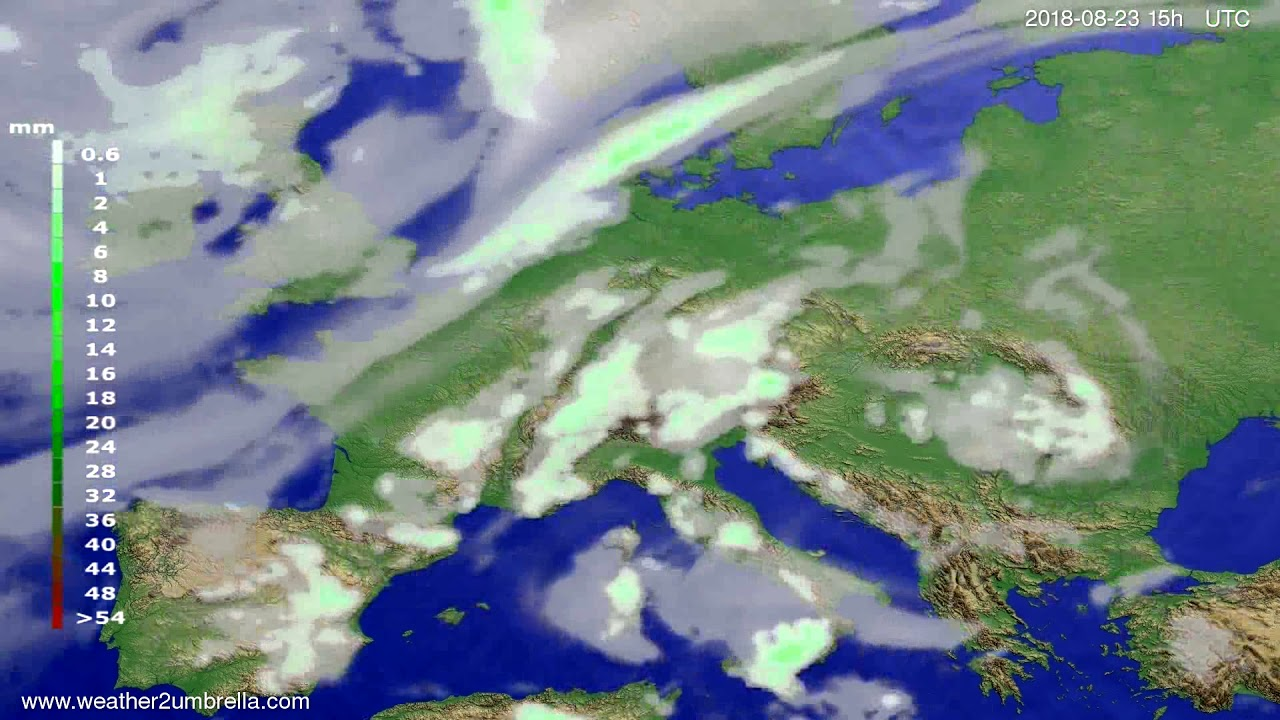 Precipitation forecast Europe 2018-08-21