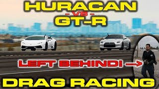 Nissan GT-R driver KICKS passenger out of car to race a Lamborghini Huracan! by DragTimes