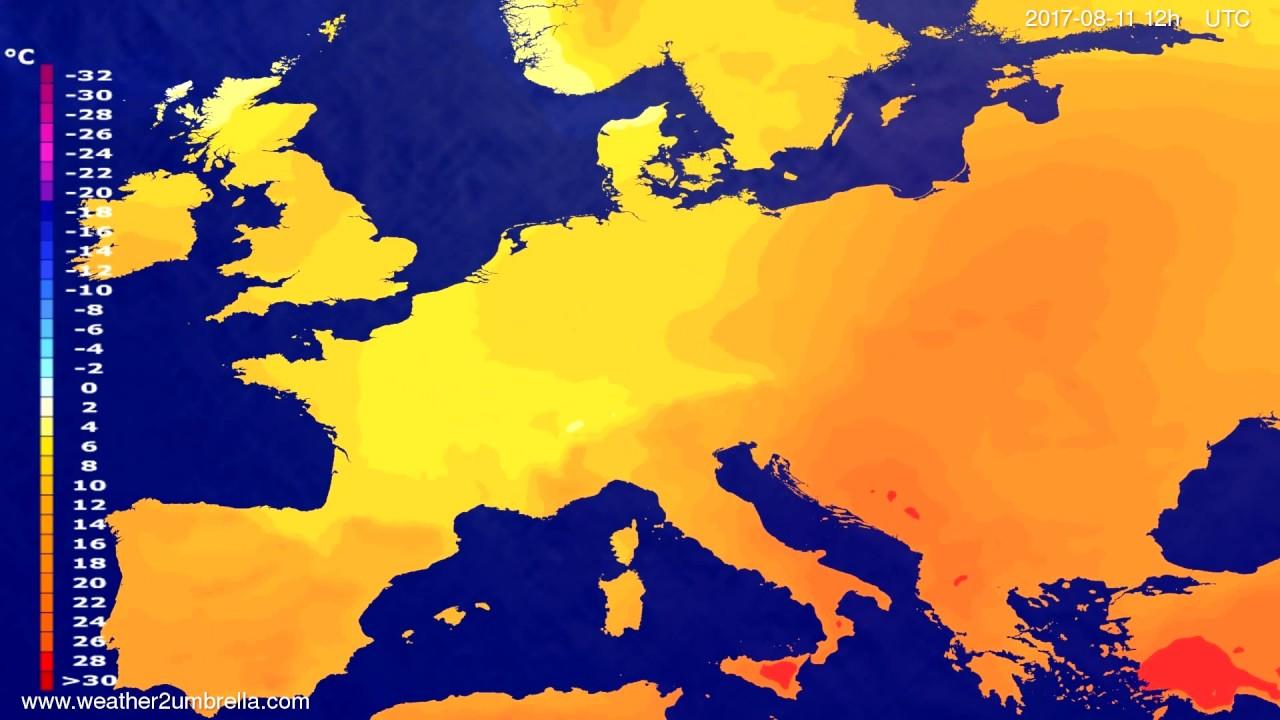 Temperature forecast Europe 2017-08-07