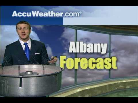 Jason Handman with the AccuWeather forecast for Albany, NY and a Cotton Candy Machine