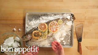 There's no centerpiece quite as dramatic than a salt-baked fish. It's all about making a tight seal with the salt crust—it forms a mini-oven around the fish, keeping ...