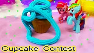 MLP Pinkie Pie Rainbow Dash Cupcake Contest My Little Pony Playdoh Sweet Shoppe Tower Food