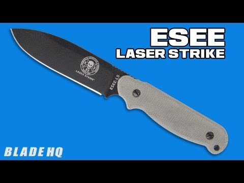 "ESEE Laser Strike Knife Fixed Survival Blade w/ Fire Starter (5"" Black) LS-P"