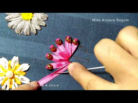 Beautiful Ribbon embroidery flowers 2020,Hand embroidery with ribbon and bead, ,रिबन कढ़ाई,হাতের কাজ
