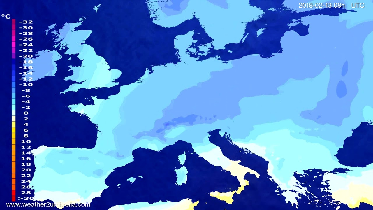 Temperature forecast Europe 2018-02-10