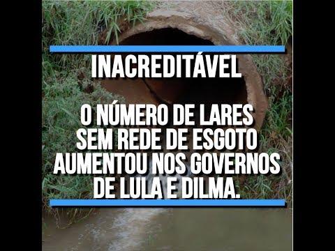Número de lares sem esgoto cresceu no período Lula e Dilma