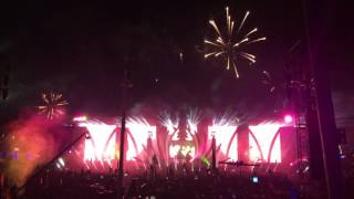 Saturday night fireworks go off during the end of Porter Robinson's set at cosmic meadow.