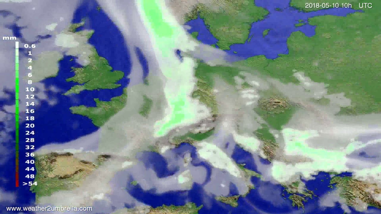 Precipitation forecast Europe 2018-05-08