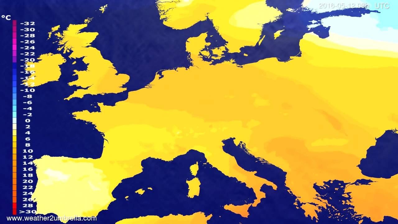 Temperature forecast Europe 2016-05-09