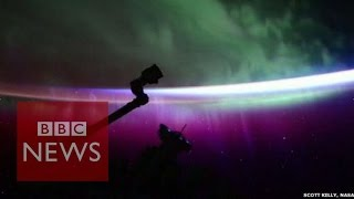 Northern Lights: Timelapse shows Aurora Borealis from space - BBC News
