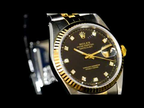 Men's 18k Yellow Gold/Stainless Steel Rolex Datejust Automatic Wristwatch with Diamond Dial