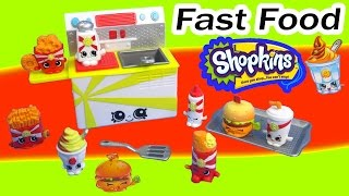 Shopkins Season 3 FAST FOOD Collection Playset Fair Burger Fries Exclusive Fun Toy Video Unboxing