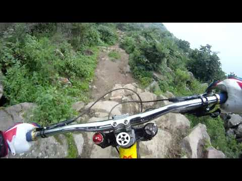 Mountain Biker Riding Extremely Rocky Path, Headcam View