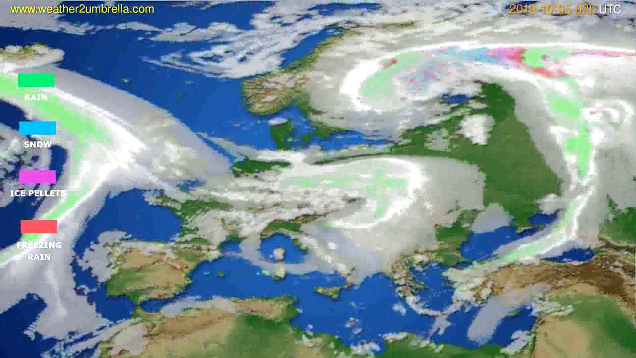 Precipitation forecast Europe // modelrun: 00h UTC 2019-10-02