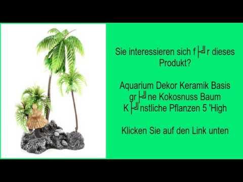 Aquarium Dekor Keramik Basis grüne Kokosnuss Baum Künstliche Pflanzen 5 'High