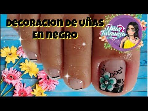 Decorados de uñas - Diseño de uñas Pies  uñas turqueza/Diseño de uñas pies de flores - Easy flowers toenail