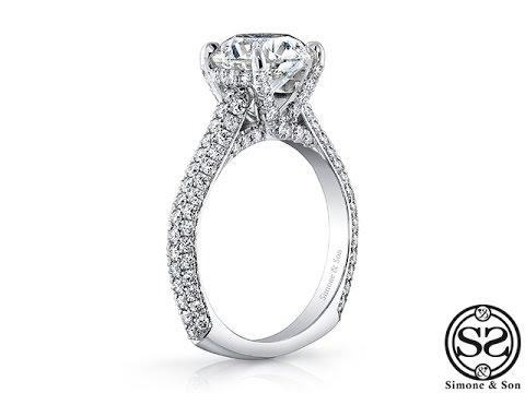 Custom White Gold Micro Pave Set Engagement Ring
