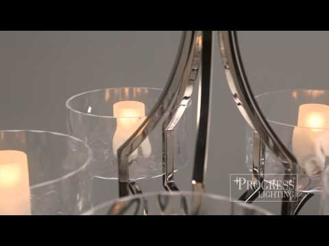 Video for Caress Polished Nickel Three-Light Chandelier with Glass Diffuser
