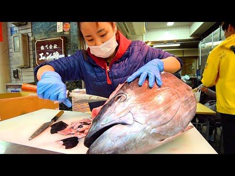 Japan Street Food - OSAKA'S BEST STREET FOOD GUIDE! CRAZY Tuna Cutting + Japanese Sushi!