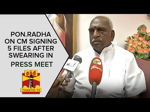 Pon-Radhakrishnan-on-Jayalalithaa-signing-five-files-after-Swearing-in-Thanthi-TV
