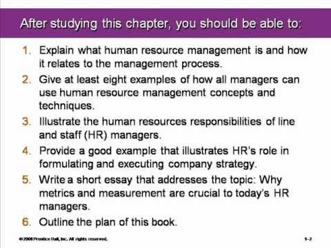 Introduction to Human Resource Management chapter #1
