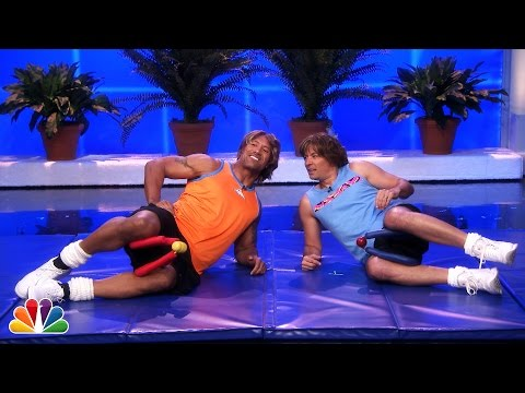 Tonight - Jimmy and Dwayne show clips of a semi-famous fitness duo called,