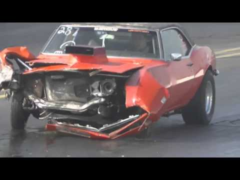 Camaro crashes into a wall at the drag strip