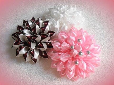 """5:54) Воздушные цветы канзаши из ленты 2,5 см, мастер класс, лепесток """"воздушный"""" on Ascendents.net"""