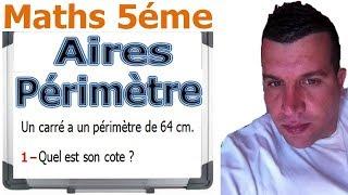 Maths 5ème - Aires et périmètres Exercice 3
