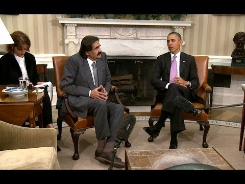 qatar - President Obama Meets with the Amir of Qatar, His Highness Hamad bin Khalifa al-Thani. April 23, 2013.