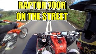 10. � HD YAMAHA RAPTOR 700 TOP SPEED, OVERTAKES + FRIENDS ON THE STREET! QUAD BIKE ATV