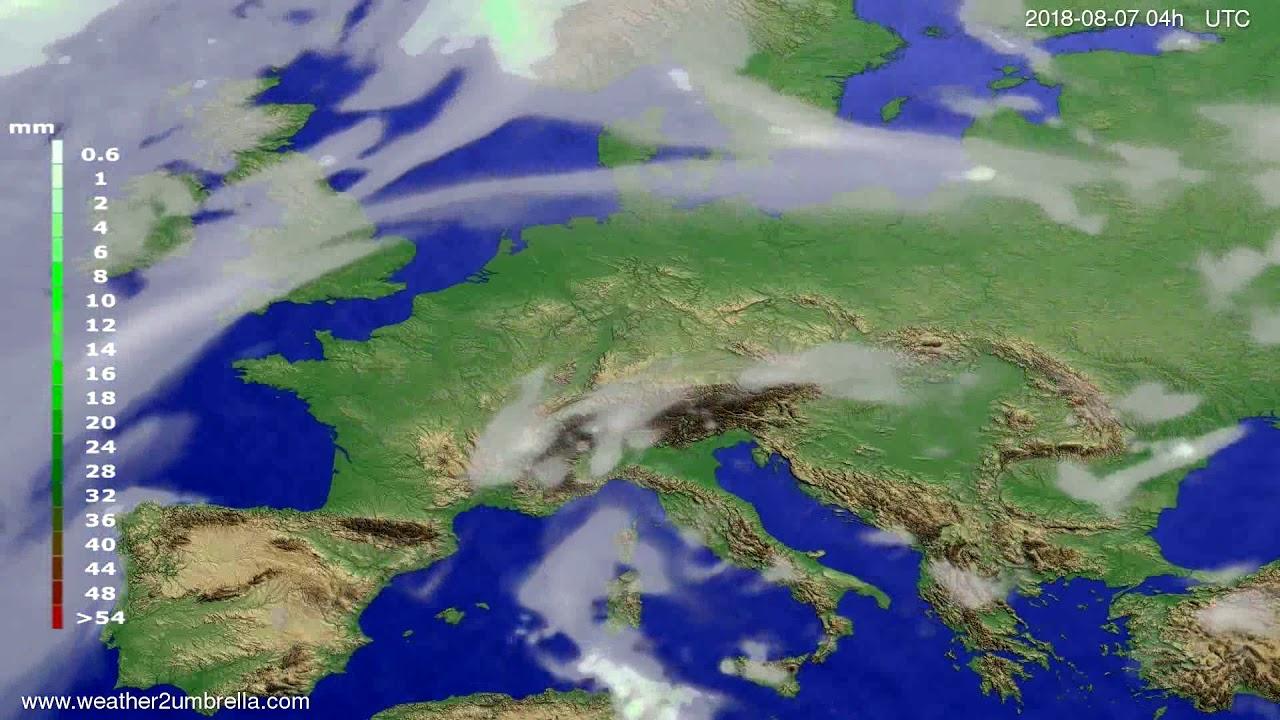 Precipitation forecast Europe 2018-08-03
