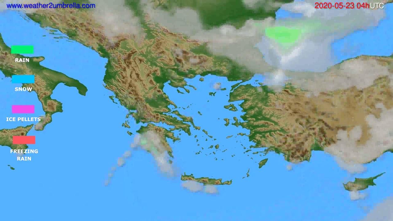 Precipitation forecast Greece // modelrun: 12h UTC 2020-05-22